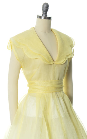 1950s Pastel Yellow Sheer Organza Scalloped Collar Dress