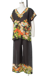 1920s 1930s Asian Floral Silk Loungewear Set