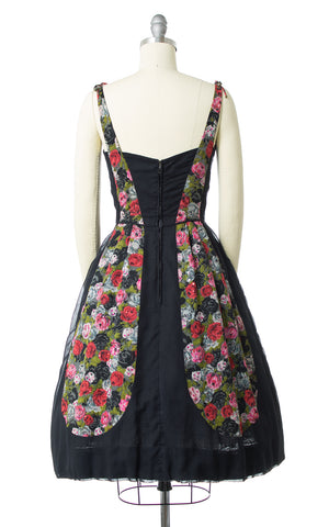 1950s Rose Blocked Black Cotton Sundress