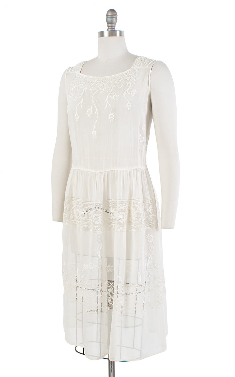 1920s Floral Embroidered Cream Sheer Cotton Voile Sundress