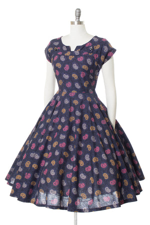 1950s Paisley Printed Cotton Dress