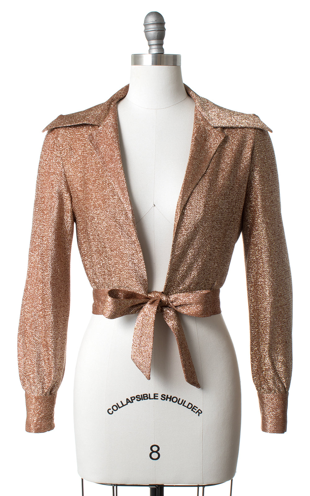 1960s 1970s Metallic Bronze Lurex Wrap Crop Top