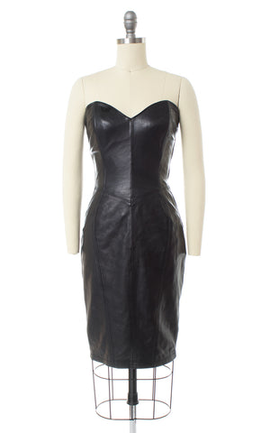 1980s North Beach Leather Lace Up Black Dress