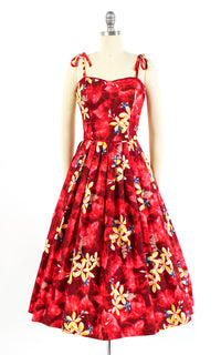 1950s Kamehameha Plumeria Hawaiian Red Cotton Sundress | small