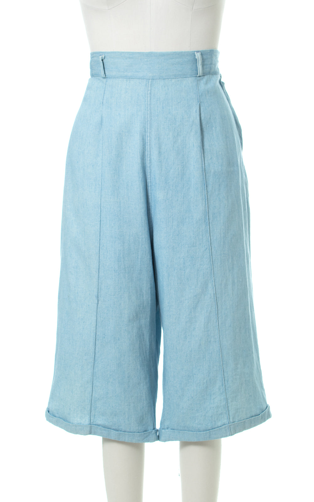 1950s Chambray Wide Leg Cropped Jeans
