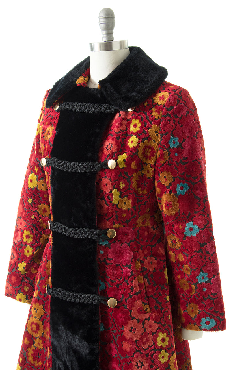 1970s Faux Fur & Floral Tapestry Princess Coat