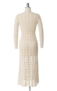 1970s Cream Crochet Dress