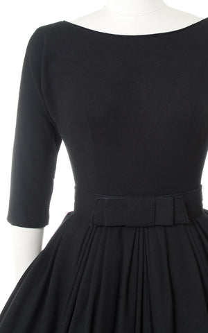 1950s Black Wool Low-Cut Back Dress