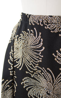 1970s Metallic Chrysanthemum Maxi Skirt