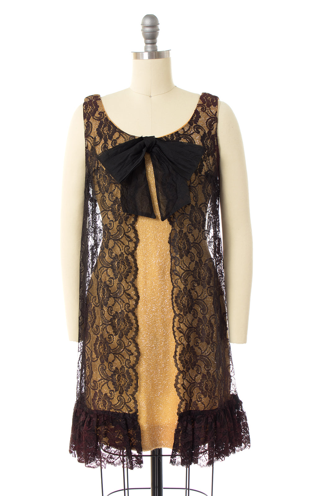 1960s Metallic Gold & Lace Party Dress