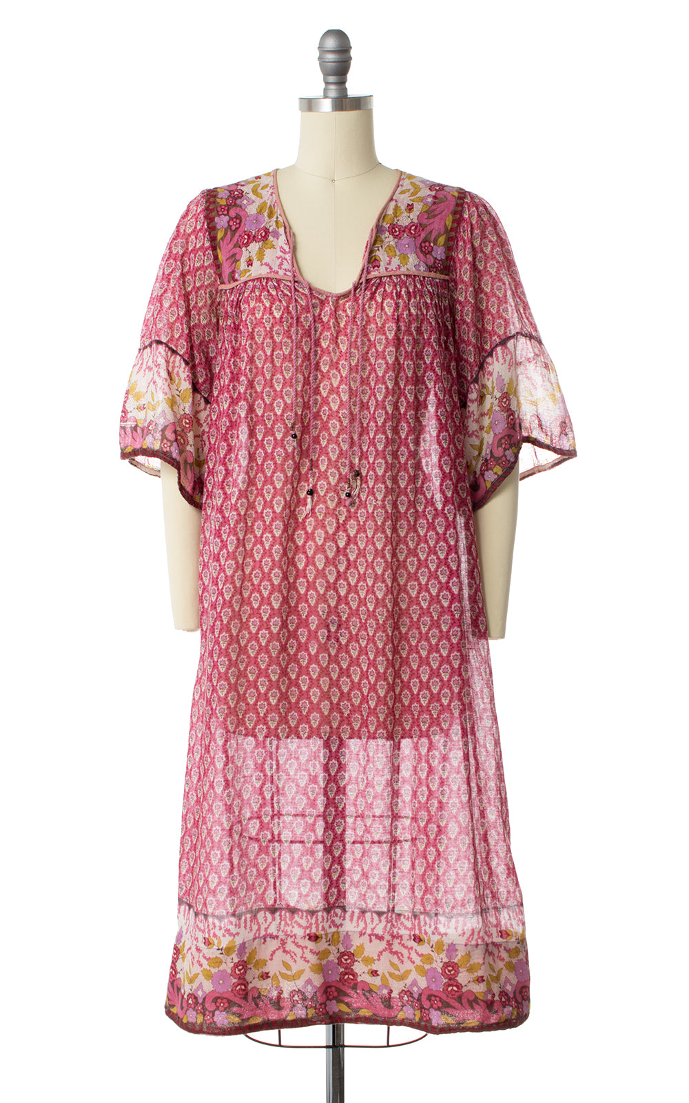 1970s Indian Cotton Pink Floral Dress