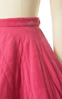 1950s Pink Quilted Corduroy Circle Skirt