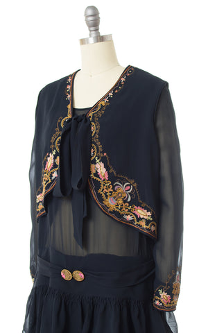 1920s Floral Chainstitch Silk Chiffon Dress & Vest Set