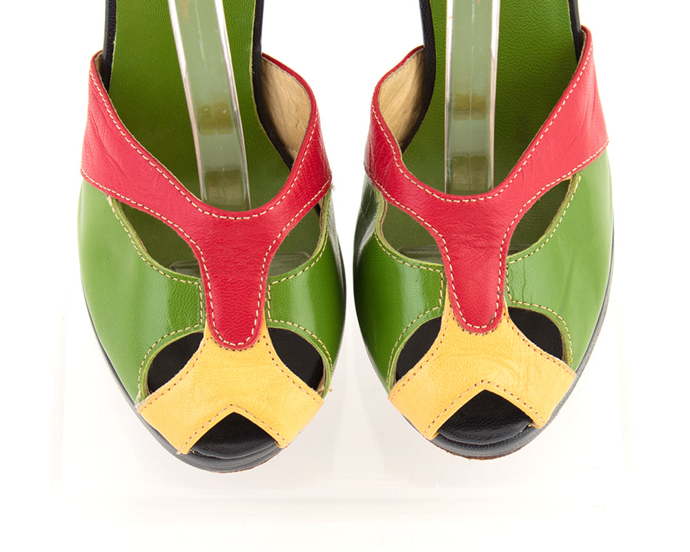 Re-Mix Vintage Style Color Block Leather Cutout Heels