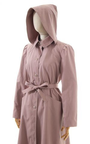 1980s Hooded Belted Princess Trench Coat