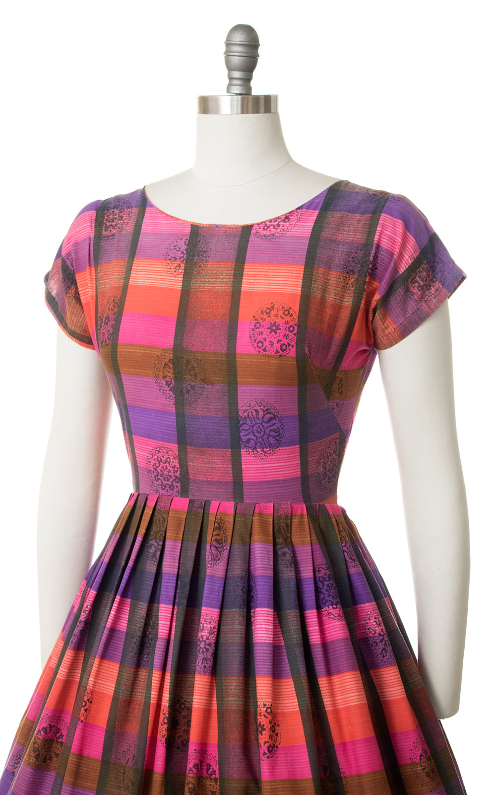 1950s Medallion Plaid Cotton Dress