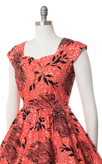1950s Coral Seaweed Printed Cotton Dress