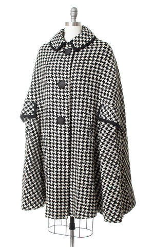 1960s Black & White Houndstooth Wool Cape