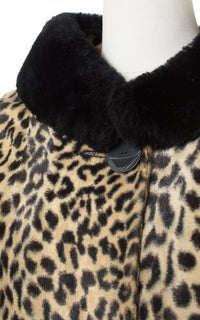 1960s Leopard Print Faux Fur Coat with Black Faux Fur Collar