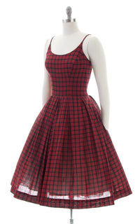 1950s Plaid Cotton Spaghetti Strap Sundress