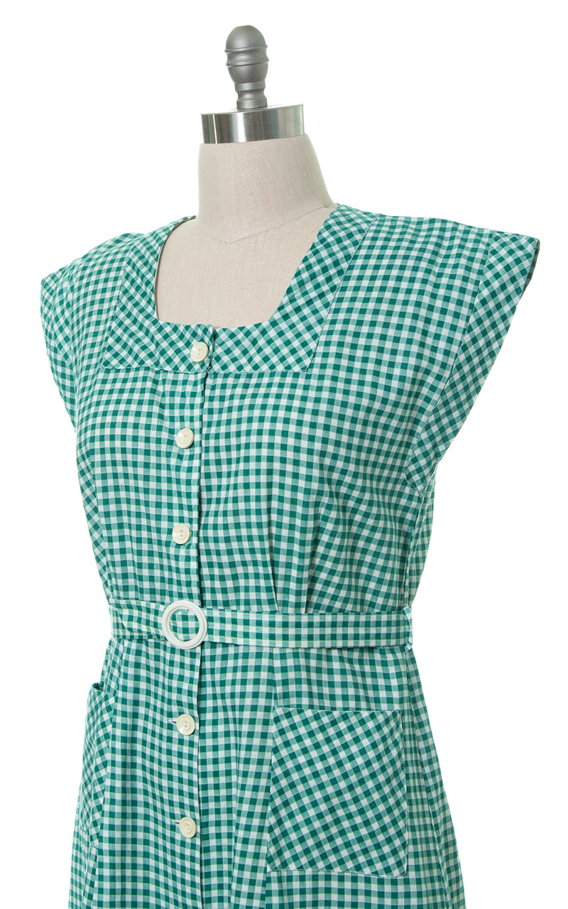 1940s Green Gingham Shirtwaist Dress with Pockets