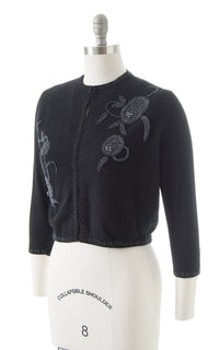1950s Beaded Wool Cropped Cardigan