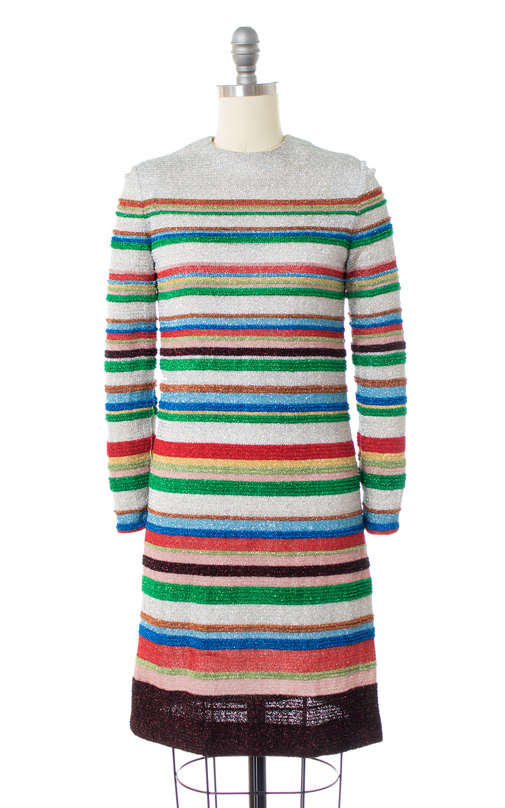 1960s Rainbow Striped Metallic Lurex Party Dress