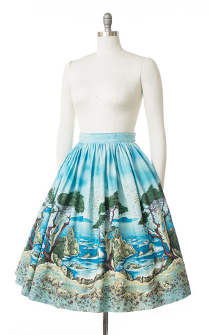 1950s Lone Cypress Novelty Border Print Skirt