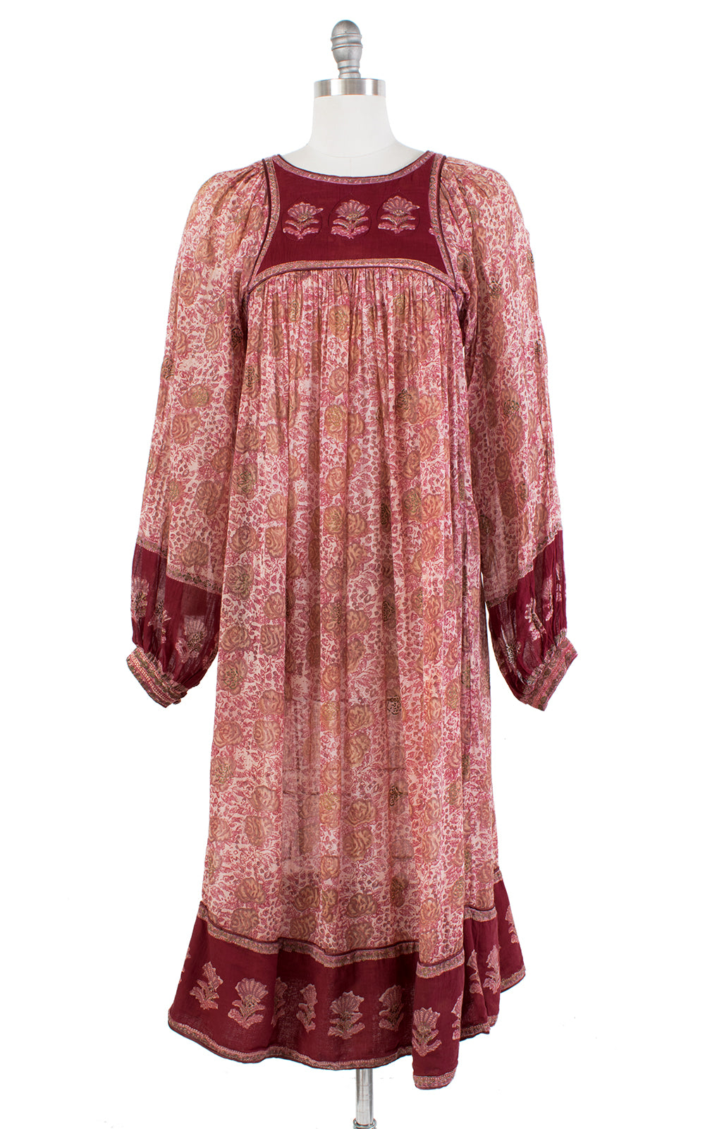 1970s Style Indian Cotton Floral Sheer Bohemian Dress