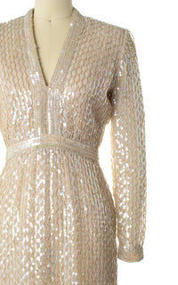 1960s Fred Perlberg Sequin & Silk Chiffon Gown