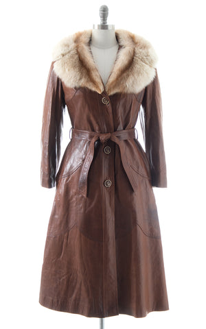 1970s Buttery Soft Leather + Fox Fur Princess Coat
