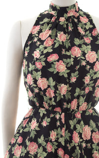 1980s Pink Rose Rayon Sundress with Pockets