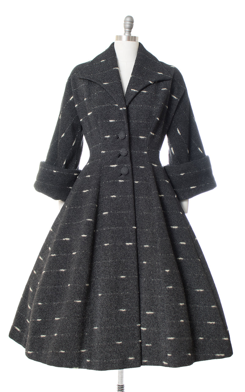 1950s Lilli Ann Flecked Wool Princess Coat