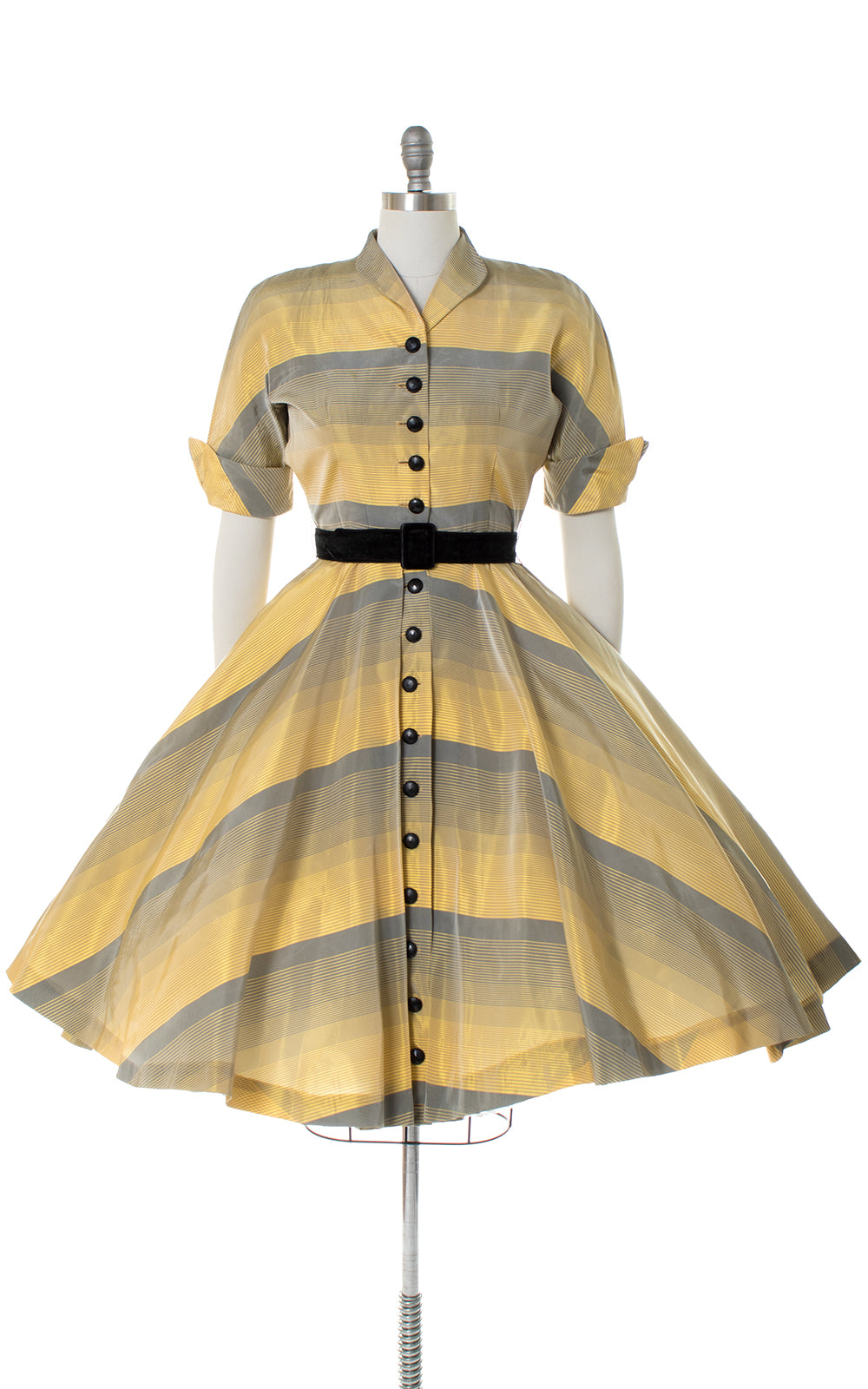 1950s Ombré Striped Taffeta Shirtwaist Dress