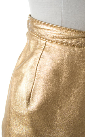 1980s Metallic Gold Leather Mini Skirt