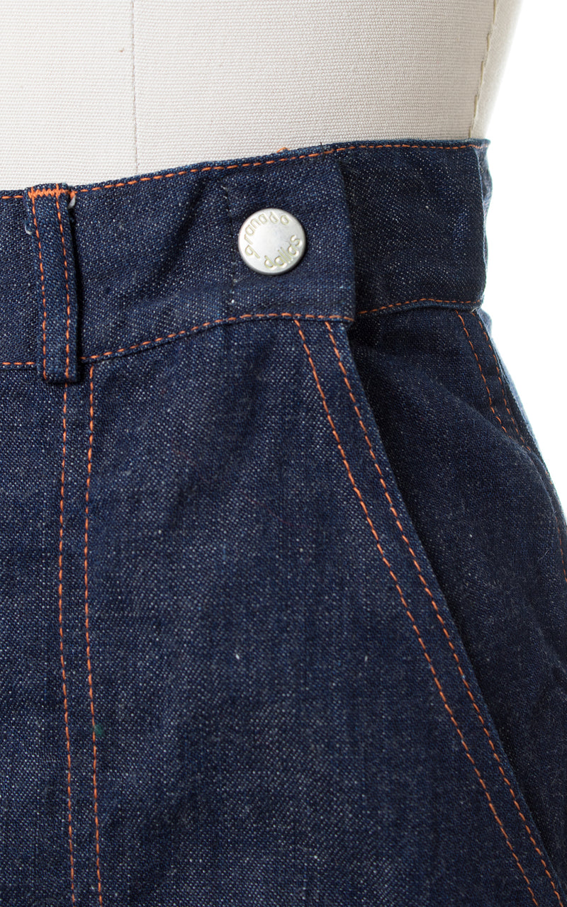 1950s Plaid Cuff Dark Denim Jeans