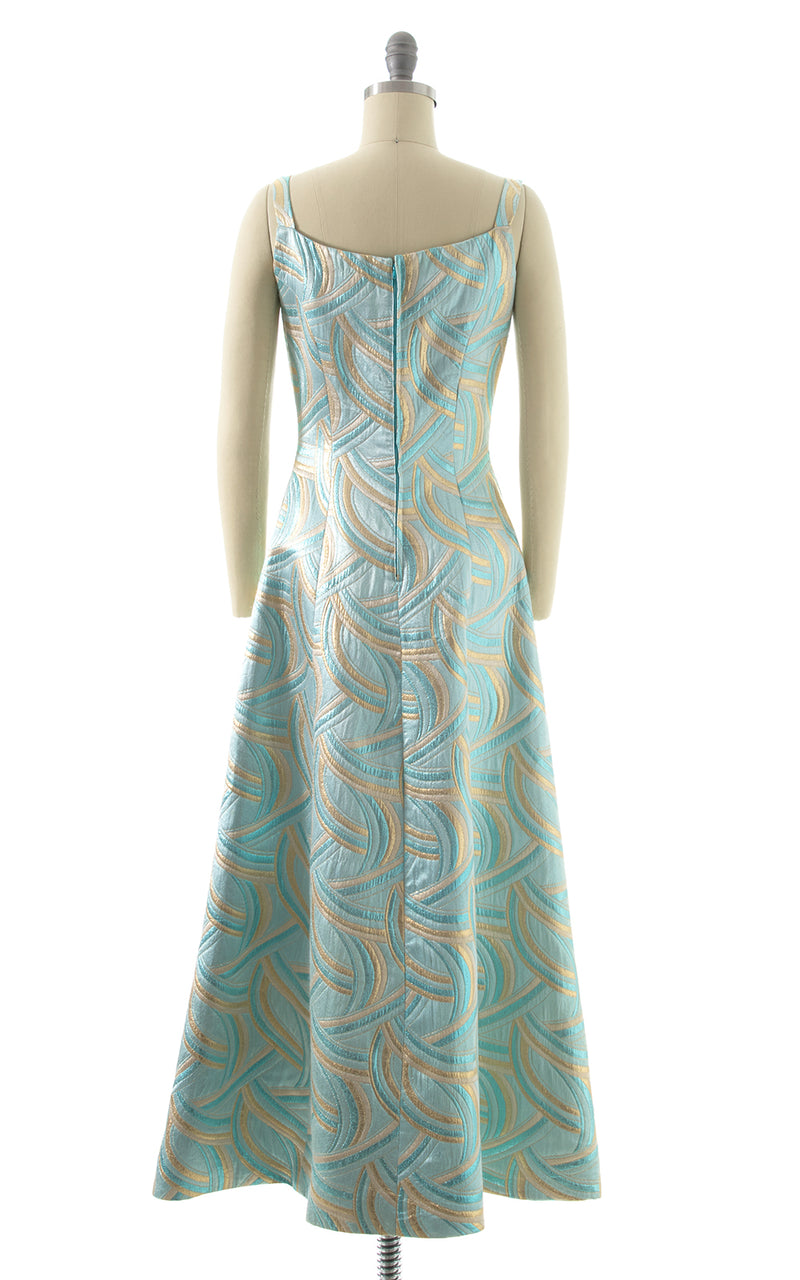 1960s Metallic Swirls Gown