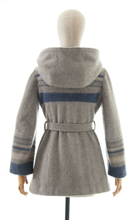 1970s Striped Wool Hooded Belted Coat