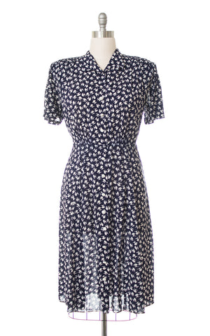 1940s Poodle Novelty Print Rayon Shirtwaist Dress