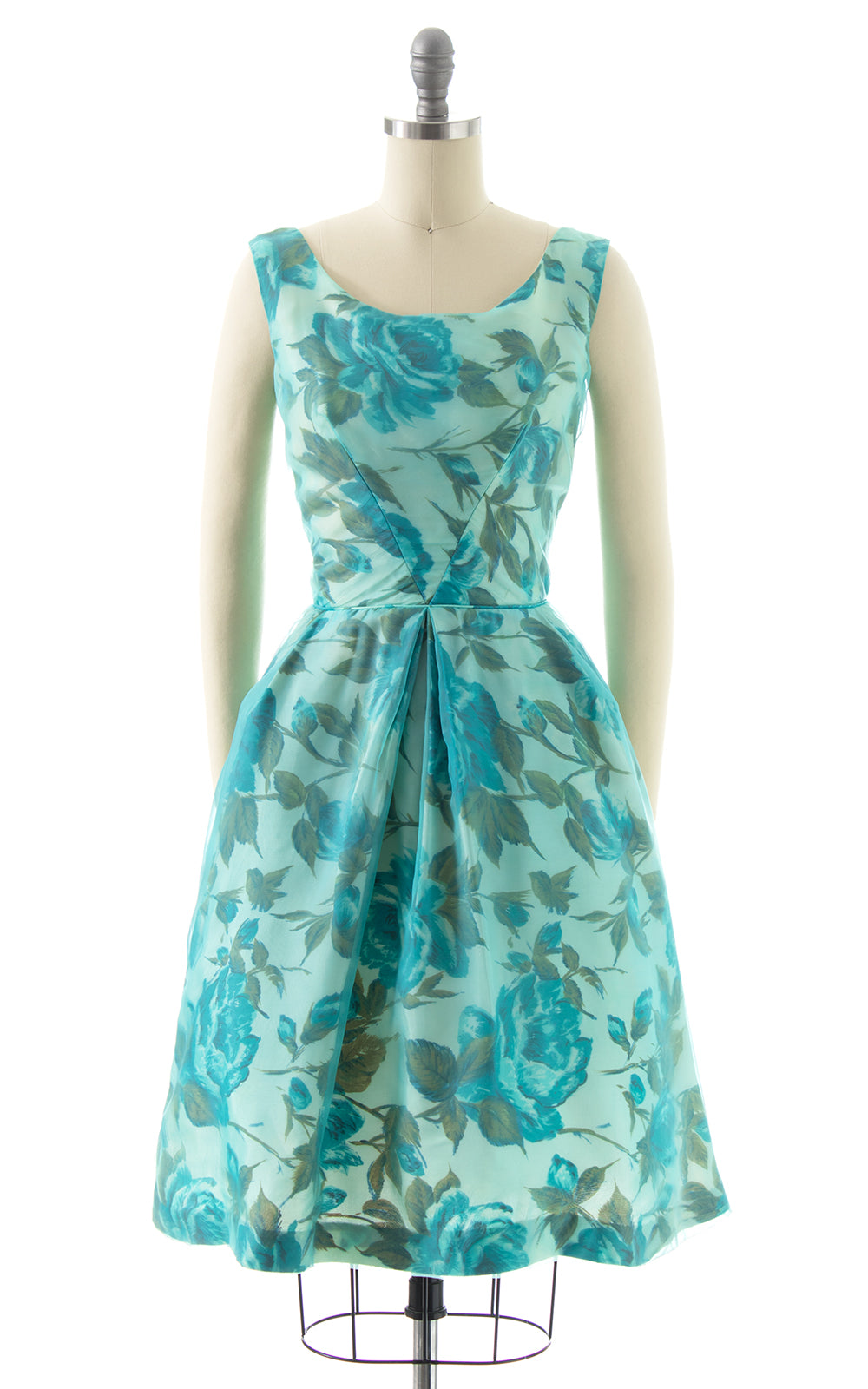 1960s Blue Rose Chiffon Overlay Party Dress