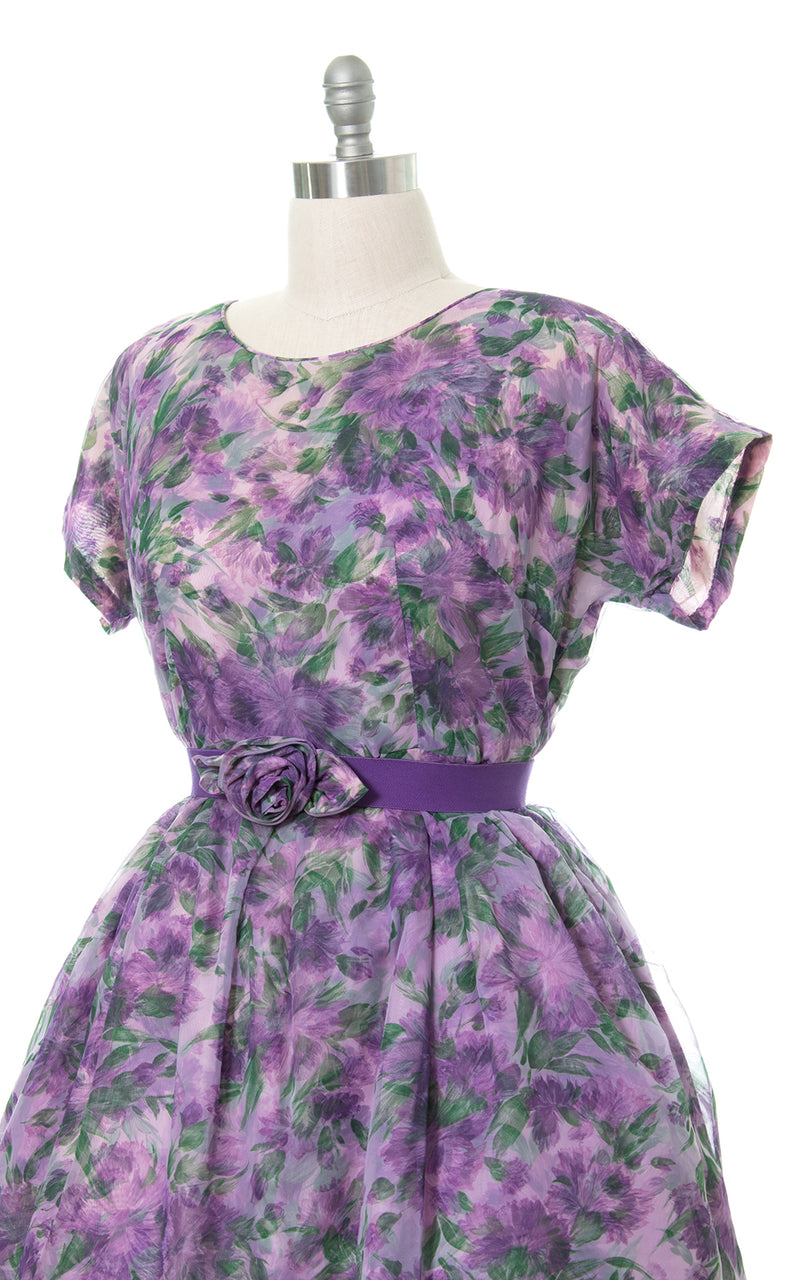 1950s Floral Chiffon Layered Party Dress