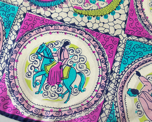 1950s Silk People & Horses Novelty Print Large Scarf