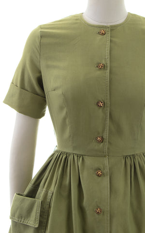 1950s Olive Green Shirtwaist Dress with Pockets