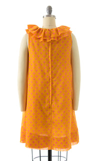 1960s Polka Dot Ruffed Shift Dress
