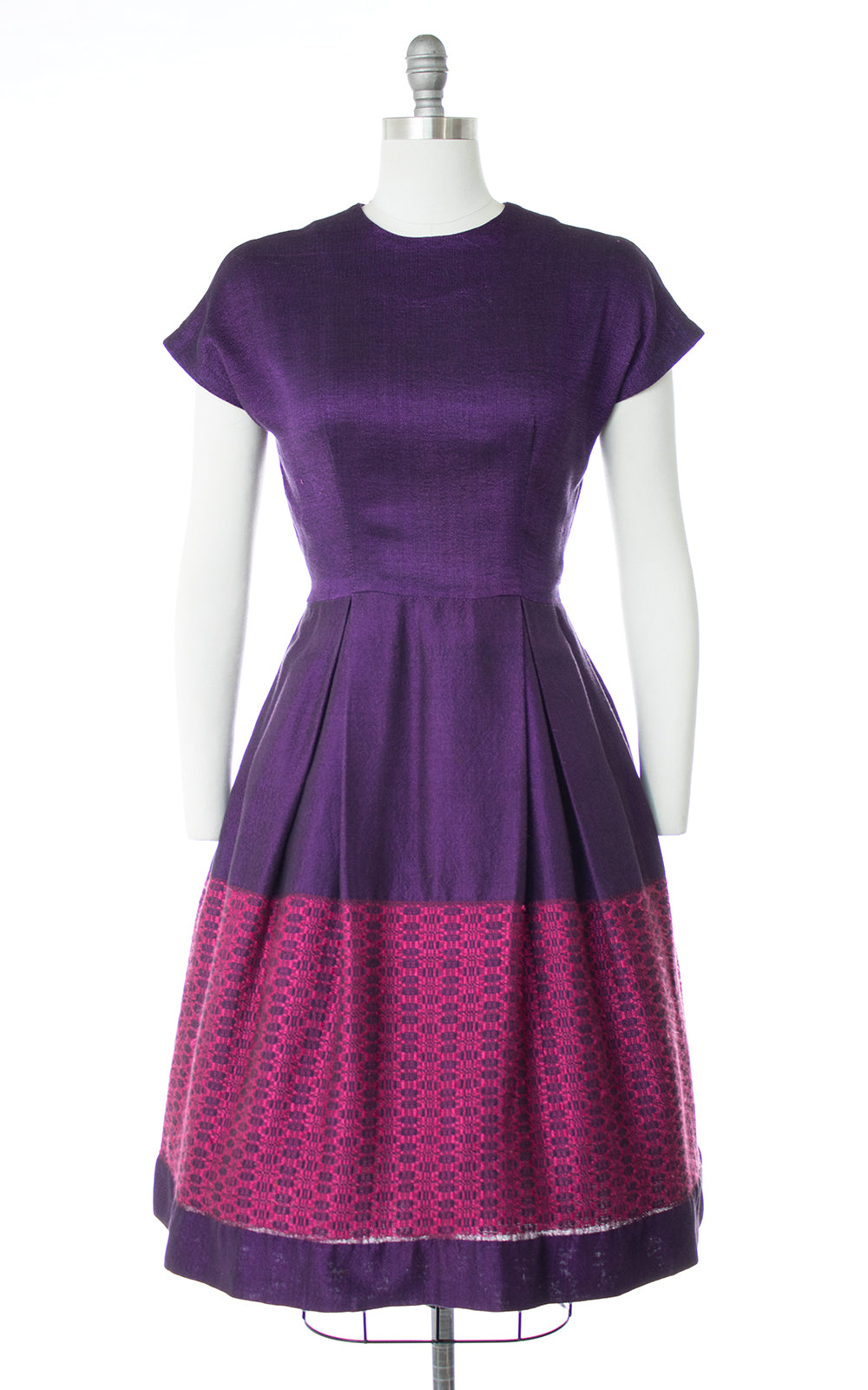 1950s Hand-Loomed Color Block Dress