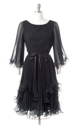 1960s Lillie Rubin Accordion Pleated Chiffon Bell Sleeve Dress | medium