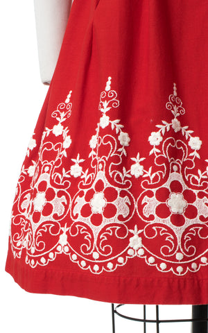 1950s Red Floral Embroidered Border Print Dirndl Sundress