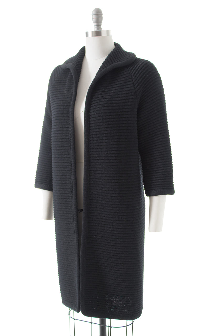 1960s Black Knit Wool Sweater Coat