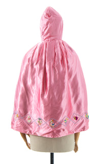 1950s Embroidered Satin Hooded Cape
