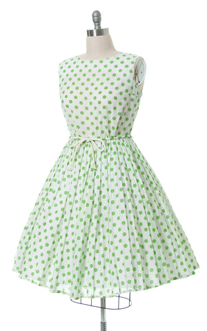 1950s Polka Dot Accordion Pleated Sundress